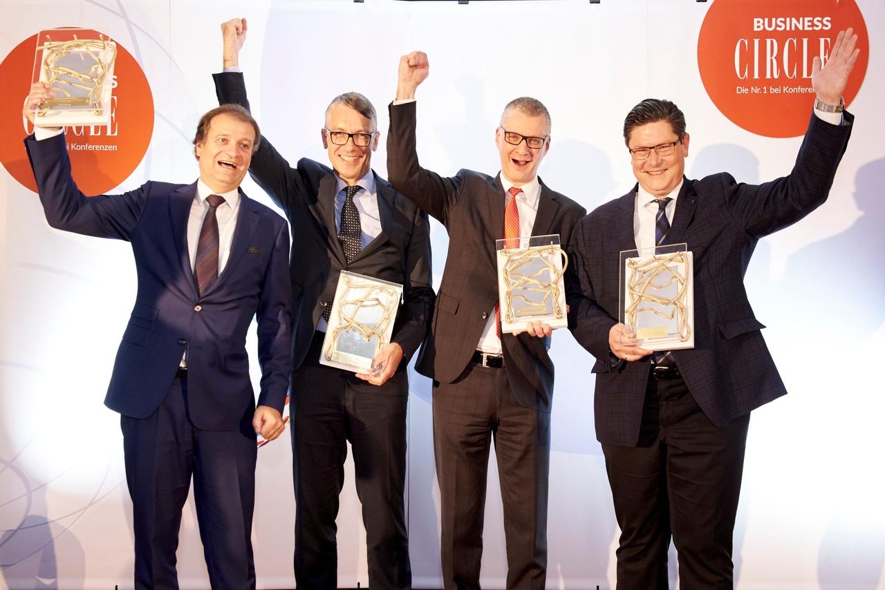 Im Siegerbild: Peter Prebil (Erste Bank), Karl Stadler (Verbund), Alexander Heppe (Telekom), Alexander Krause (Andritz)., © Klimpt