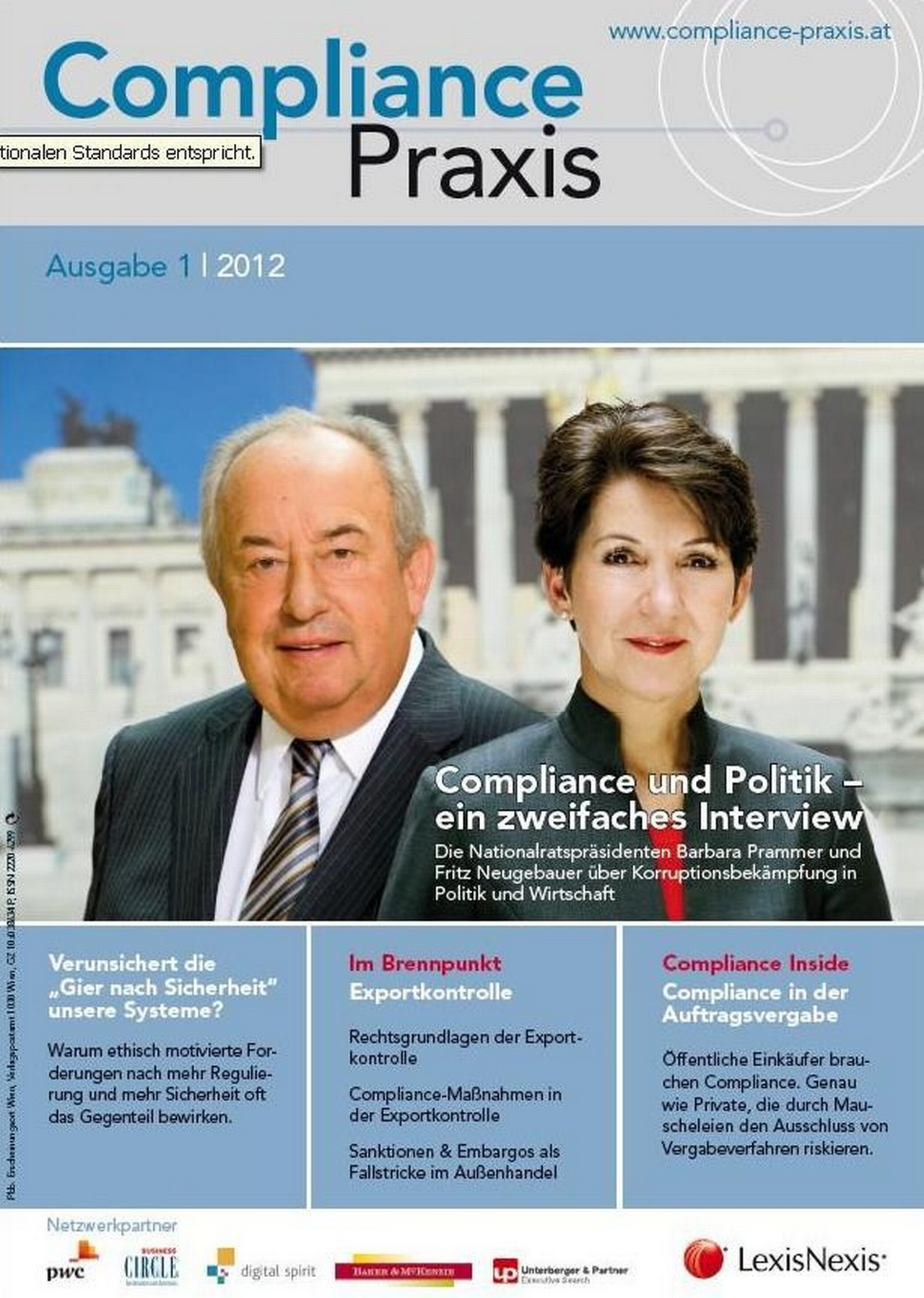 Cover von Compliance Praxis Ausgabe 1/2012, © LexisNexis