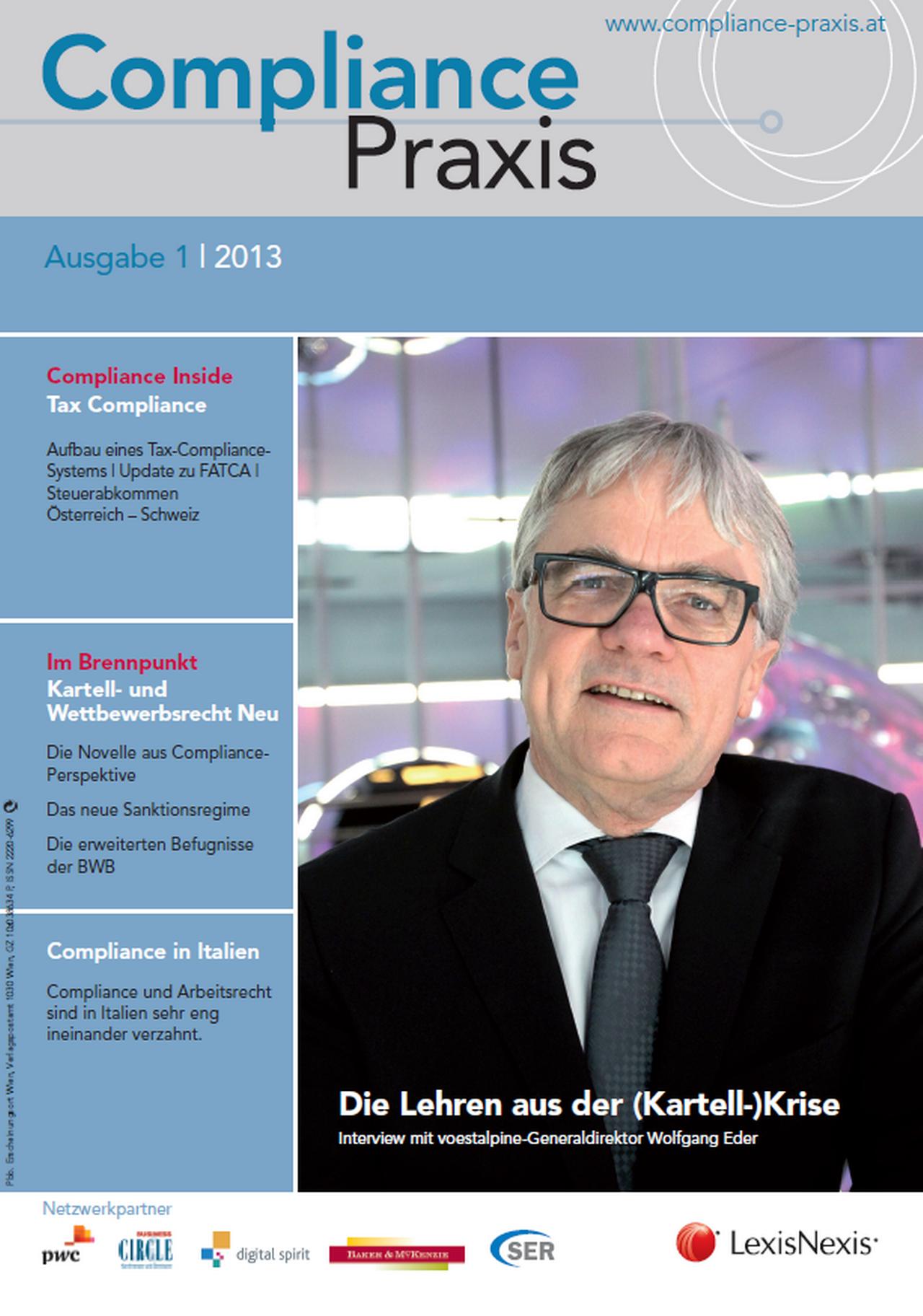 Cover von Compliance Praxis Ausgabe 1/2013, © LexisNexis