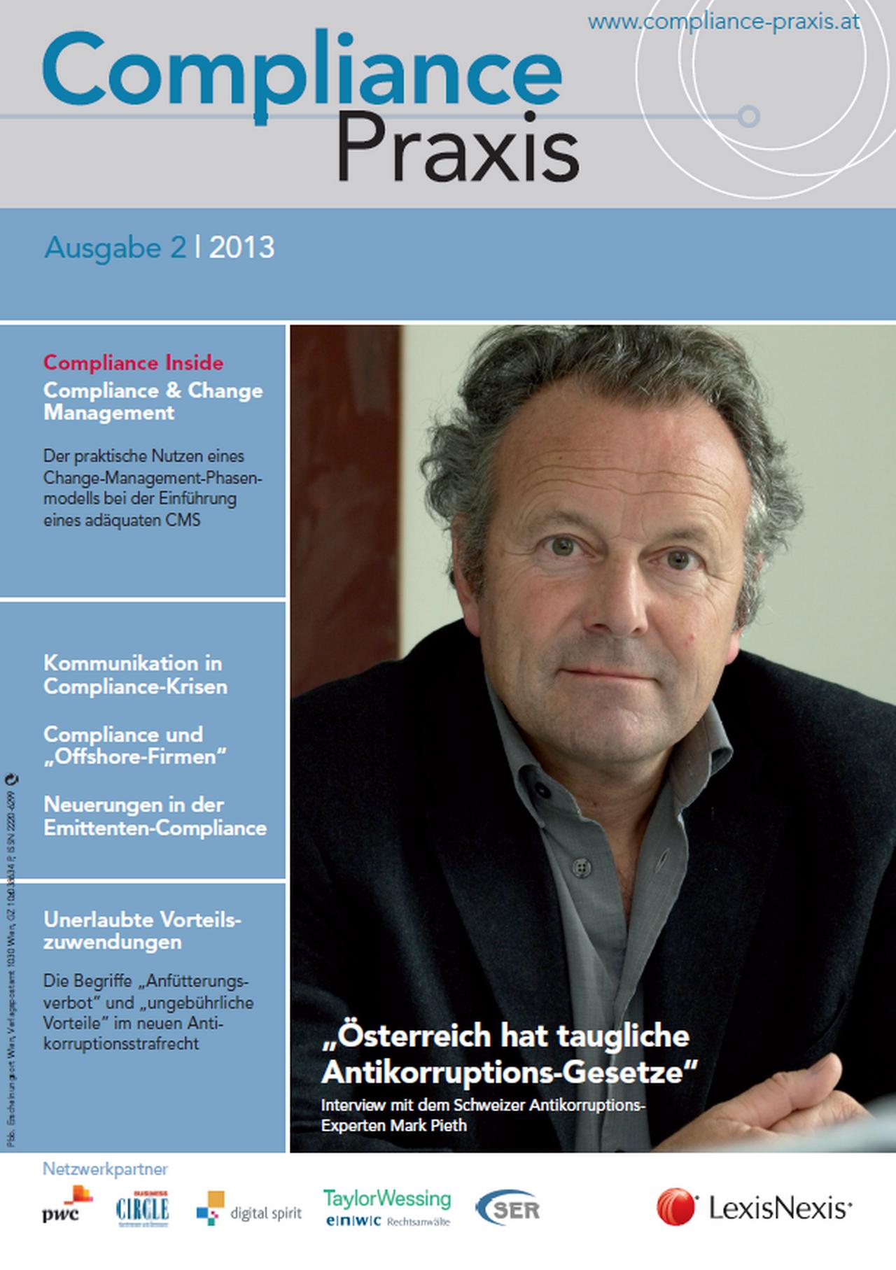 Cover von Compliance Praxis Ausgabe 2/2013, © LexisNexis