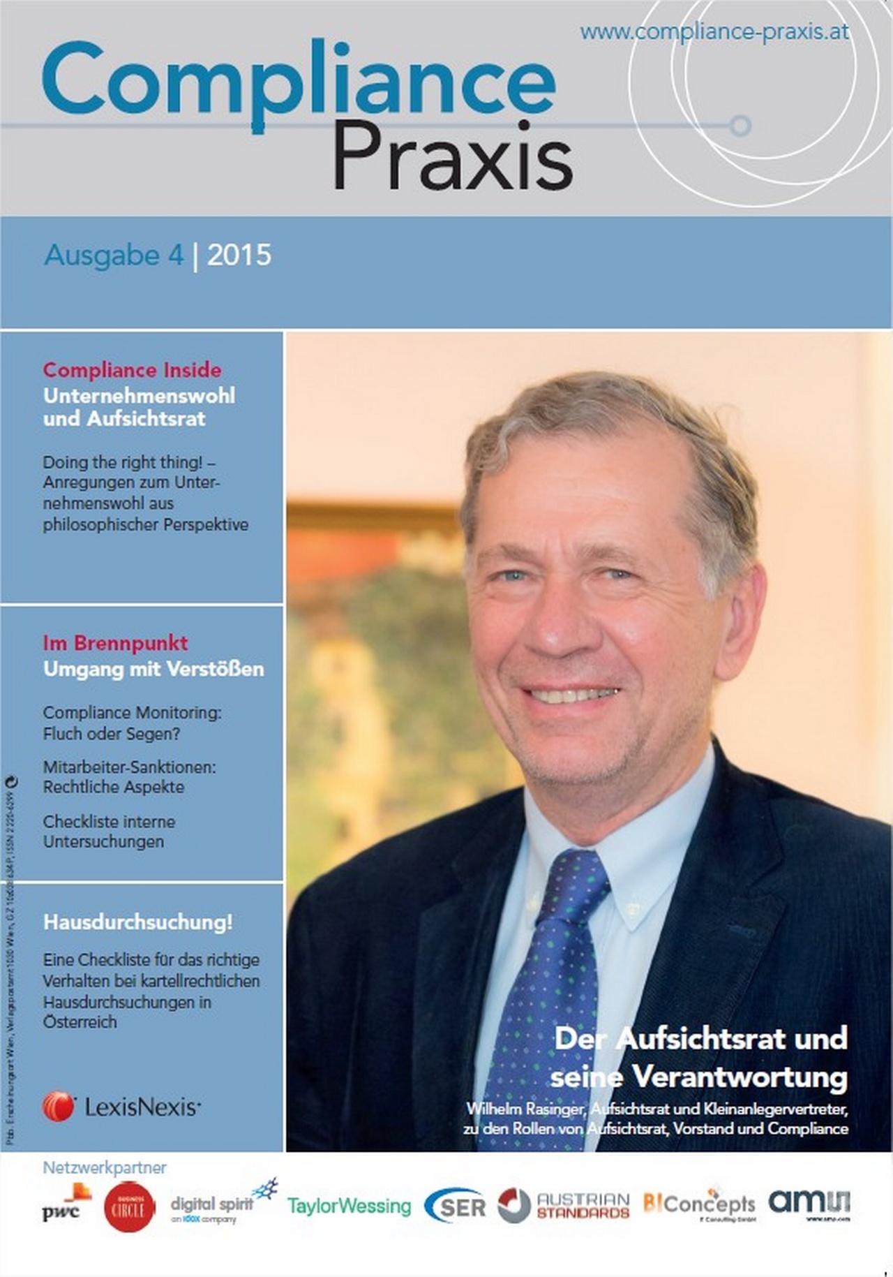 Cover von Compliance Praxis Ausgabe 4/2015, © LexisNexis