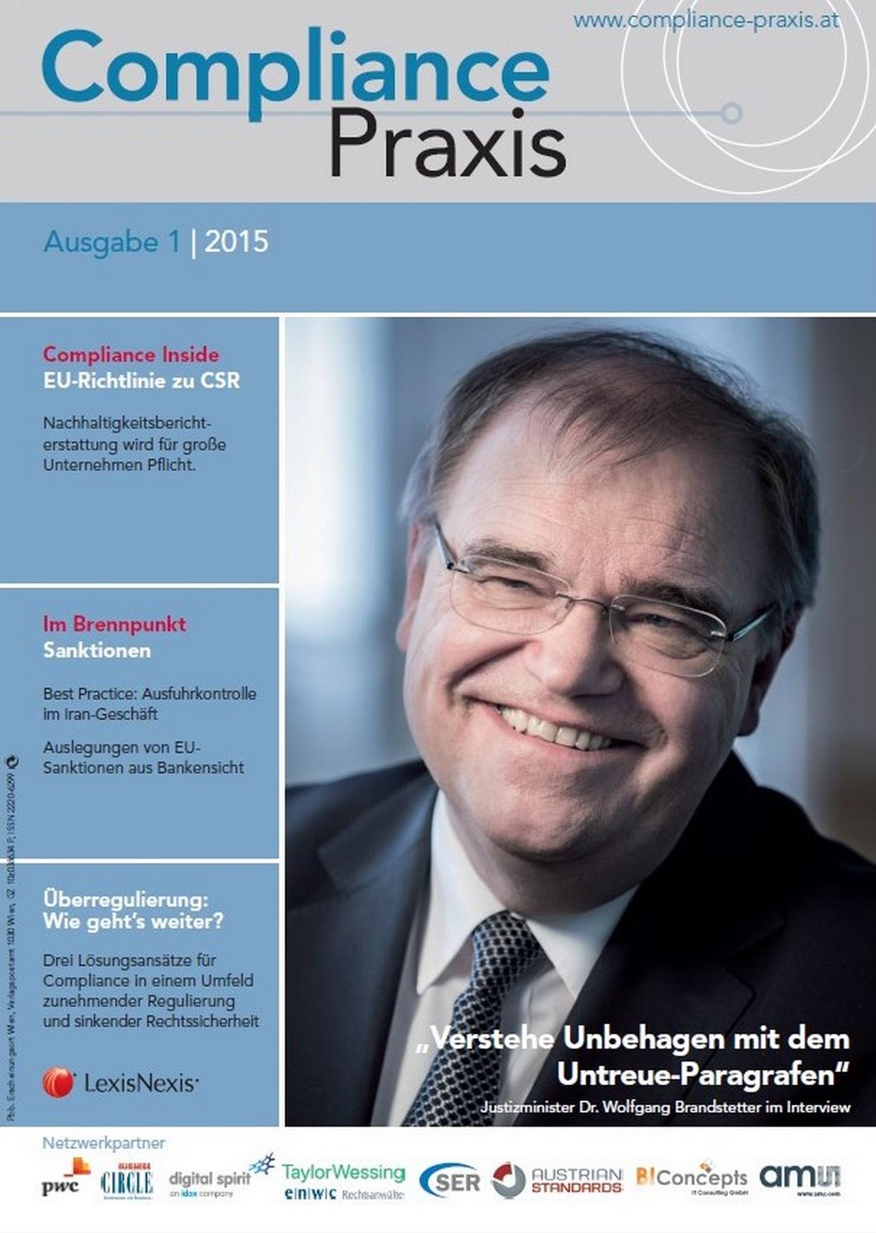 Cover von Compliance Praxis Ausgabe 1/2015, © LexisNexis