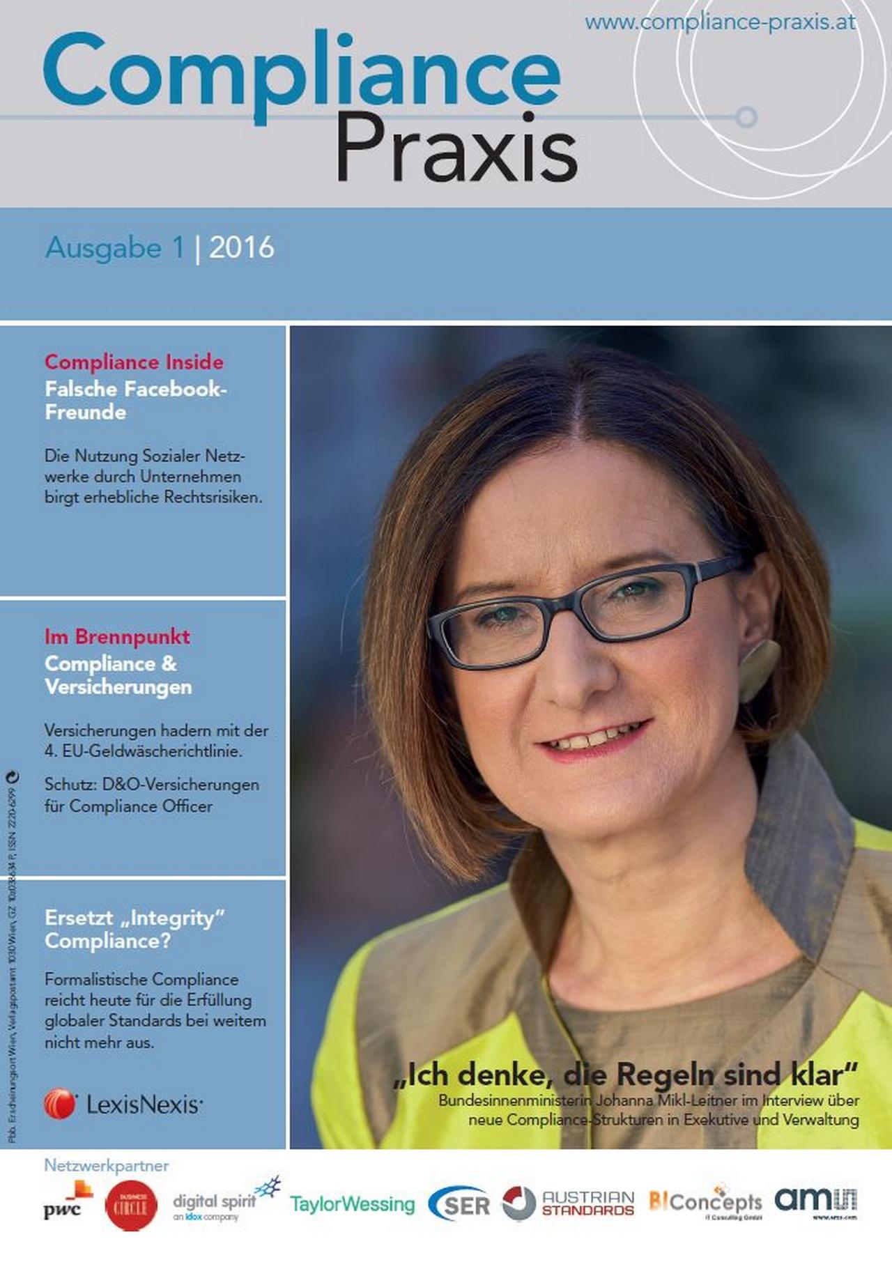Cover von Compliance Praxis Ausgabe 1/2016, © LexisNexis