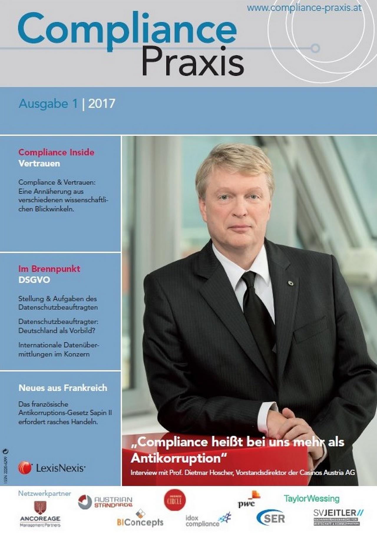 Cover von Compliance Praxis Ausgabe 1/2017, © LexisNexis