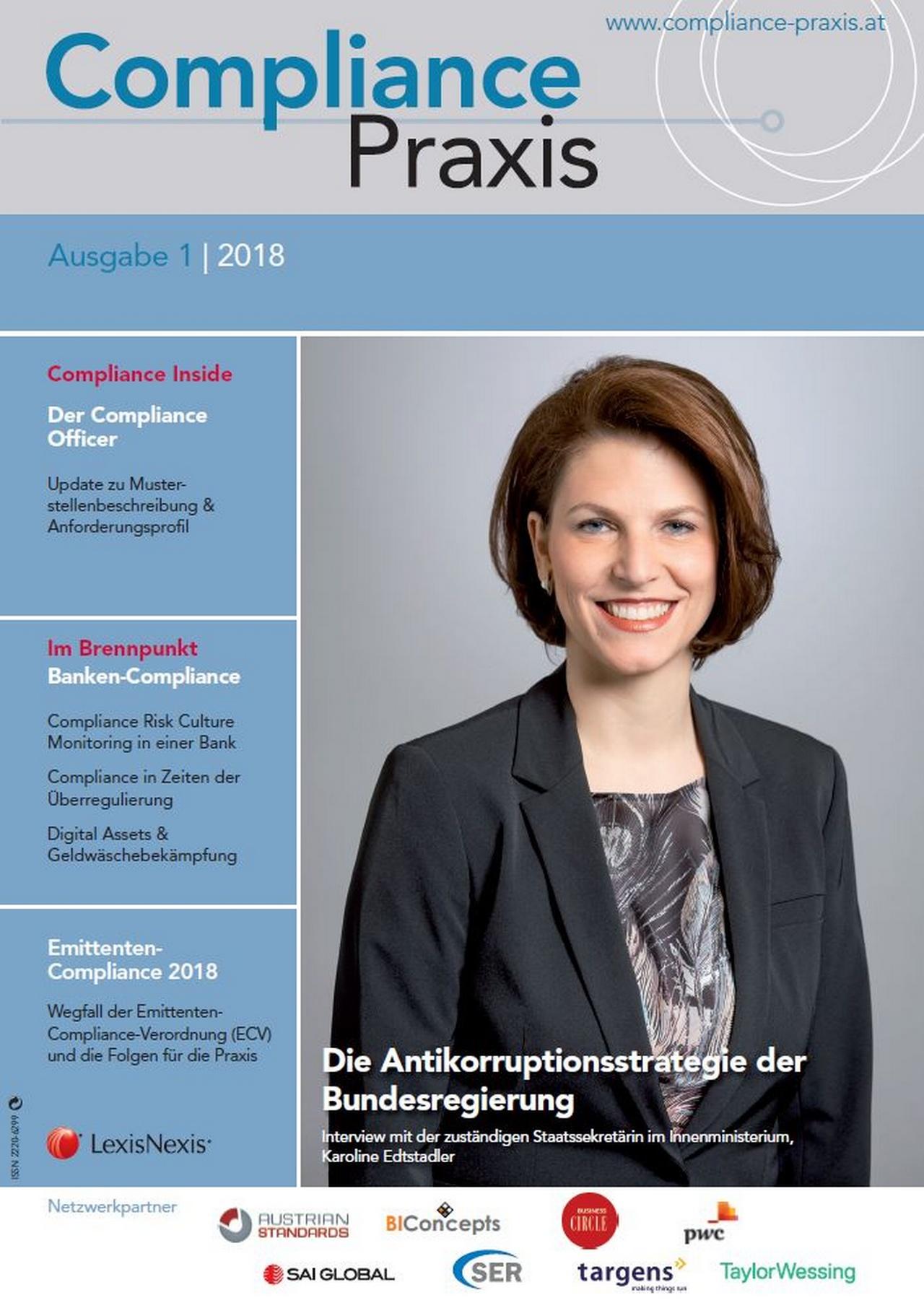 Cover von Compliance Praxis Ausgabe 1/2018, © LexisNexis