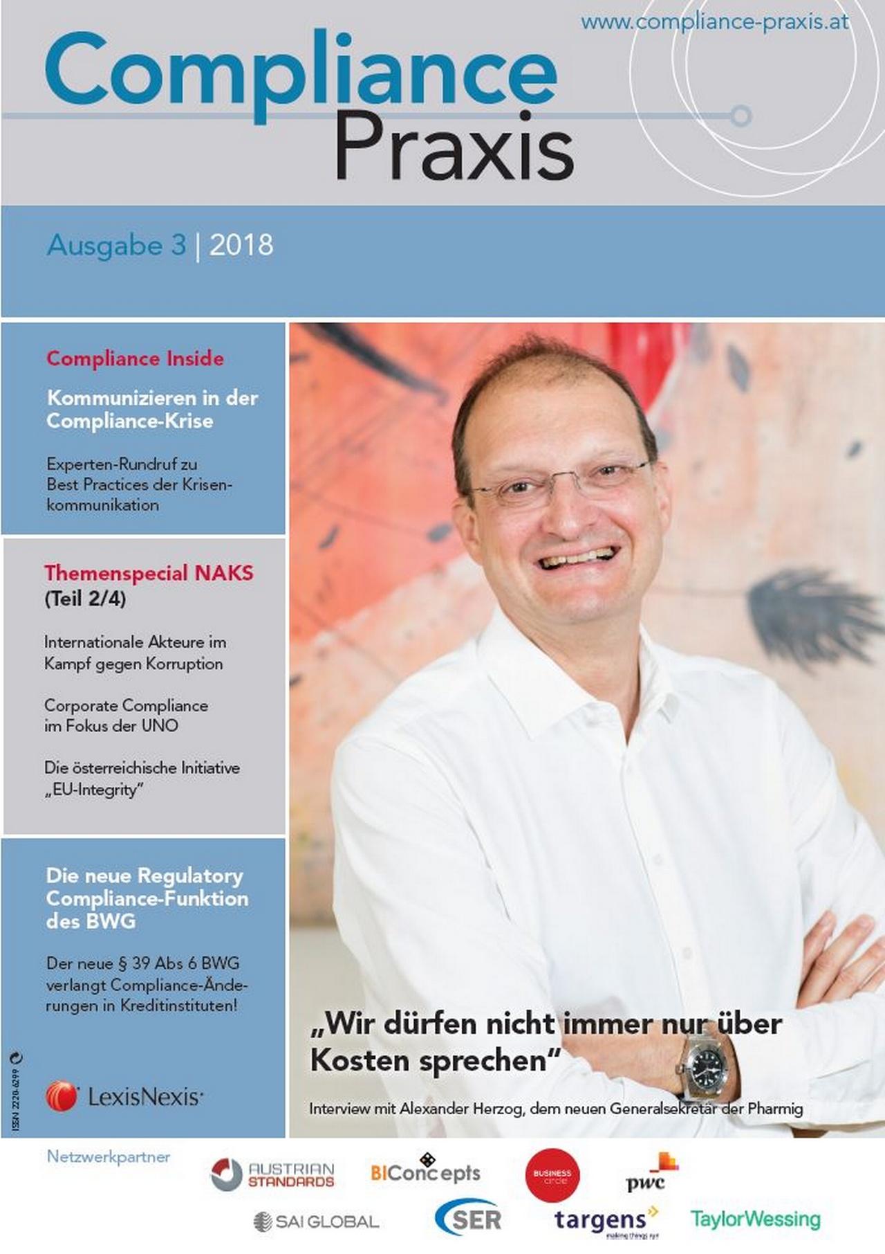 Cover von Compliance Praxis Ausgabe 3/2018, © LexisNexis