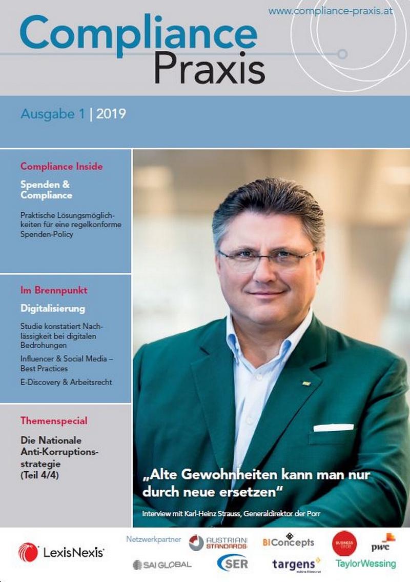 Cover von Compliance Praxis Ausgabe 1/2019, © LexisNexis